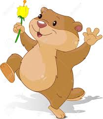 illustration of groundhog dancing with first flower for groundhog