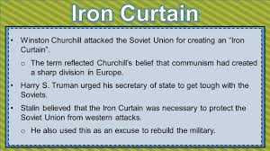 The Iron Curtain Speech Meaning by Ss6h7 The Student Will Explain Conflict And Change In Europe To