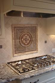 tile backsplash with molding and sculpted picture new kitchen