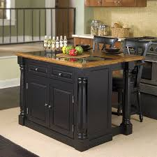 shop home styles black midcentury kitchen island with 2 stools at
