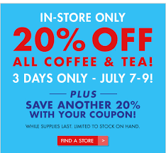 Coupon Bed Bath And Beyond 20 Off Bed Bath And Beyond In Store Only 20 Off All Coffee U0026 Tea Use