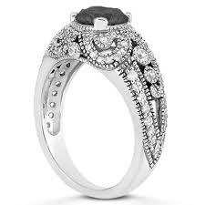 Vintage Style Wedding Rings by 0 89 Carat Black And White Diamond Vintage Style Engagement Ring