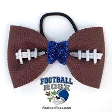 football ribbon basic football hair bow blue sparkle