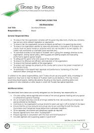 Sample Resume Secretary by Job Secretary Job Description For Resume