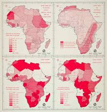 Africa Climate Map by 1962 Offset Lithograph Population Map Climate Health Hospital Rate