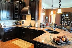 Dark Kitchen Cabinets Light Countertops Fair Dark Kitchen Cabinets With Light Granite For Home Decorating