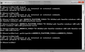 android shell commands android adb is not recognized as an or external