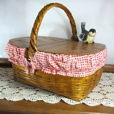 vintage picnic basket vintage picnic basket with gingham liner attic and barn