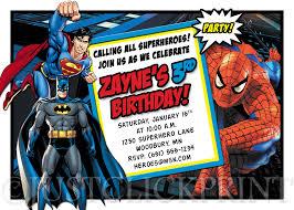 superheroes batman superman spiderman birthday invitation