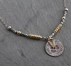 wire jewelry necklace images Hammered and textured sterling disc wrapped with 14kt goldfilled jpg