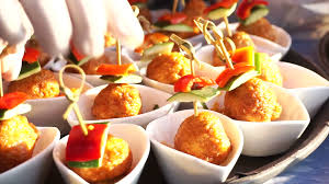 fish ball finger food catering for cocktail party stock video