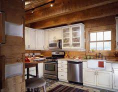 small log home kitchen love the cabinets island could be a