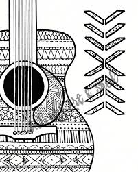 coloring page guitar instant download zentangle