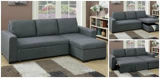 Sofa With A Pull Out Bed F6931 Poundex Blue Grey Sectional With Pull Out Bed