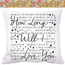 ellie goulding lyric song cushion wedding anniversary gift