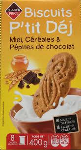 sachet pour biscuit biscuits p u0027tit déj miel céréales u0026 pépites de chocolat leader