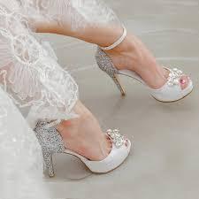 bridesmaid heels genuine leather peep toe white high heels buckle bridesmaid