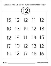 preschool literacy worksheets number twelve writing counting and identification printable