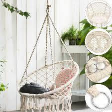 beige hanging cotton macrame hammock chair swing outdoor home