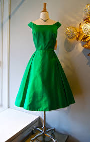 50s party dress vintage 1950s emerald green silk satin fit and