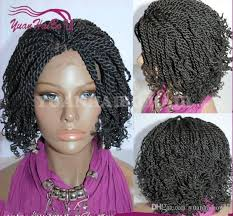 gray hair pieces for american hot selling short kinky twist braided lace front wigs full hand