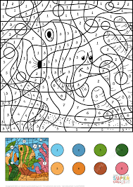angelfish color by number free printable coloring pages
