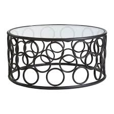 coffee table gillmore space black glass and metal contemporary