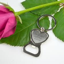 silver heart keyring bottle opener personalized favors