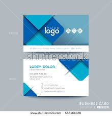 clean simple blue business card namecard stock vector 585161026