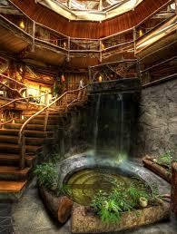 hobbit home interior fairytale hobbit cottage tree logs waterfall garden magic