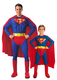 superman couple costume for father and son vegaoo