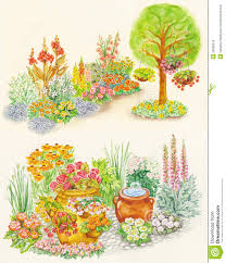 garden design of flower beds with ornamental flowe stock