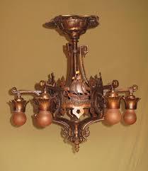1920s bronze chandelier spanish revival chandeliier