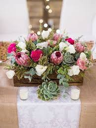 Wood Box Centerpiece by Rustic Succulent And Pink Protea With Wooden Box Wedding