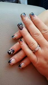 french tip with pink black and silver design nail designs