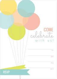 Blank Invitations Modern Balloons Fill In The Blank Birthday Invitation Blank