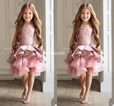 luxury lace pink lace flower dresses 2017 knee length