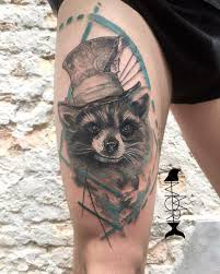thigh raccoon tattoo best tattoo ideas gallery