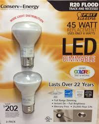 Dimmable Led Light Bulbs For Recessed Lighting by Feit 8 Watt R20 Led Dimmable Flood Light Bulbs 2 Pack Equiv To 45