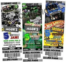 monster truck show ticket prices monster truck jam birthday party ticket invitations ebay