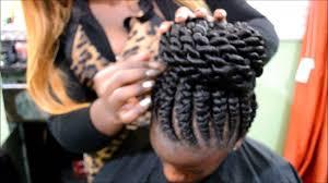 updo hairstyles with big twist ghana braids with twist bun by omeece culmer youtube