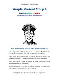 look a free printable english short story in the simple present