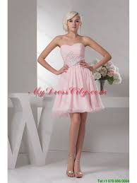 light pink short dress classical sweetheart baby pink short prom dress with beading