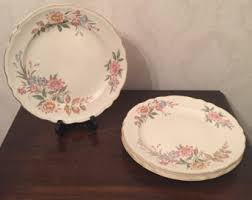 Shabby Chic Plates by Knowles Gold Plate Etsy