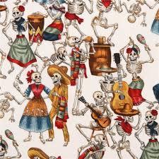 white henry fabric with skeletons celebrating