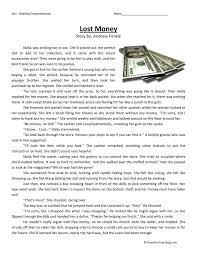 lost money reading comprehension worksheet