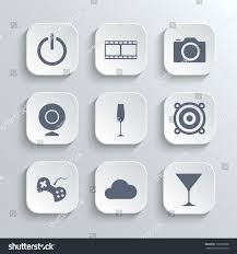 multimedia icons set vector white app stock vector 197869838