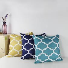 Cotton Canvas Quatrefoil Accent Decorative Throw Pillows Square