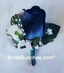 royal blue boutonniere navy blue white wedding or special events boutonniere