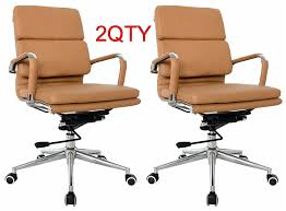 Chair Swivel Mechanism by Eames Mid Back Office Chair Camel Vegan Leather Thick High